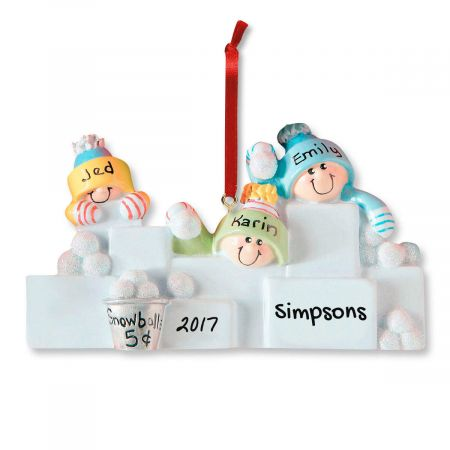 Personalized Snowball Fight Christmas Ornaments