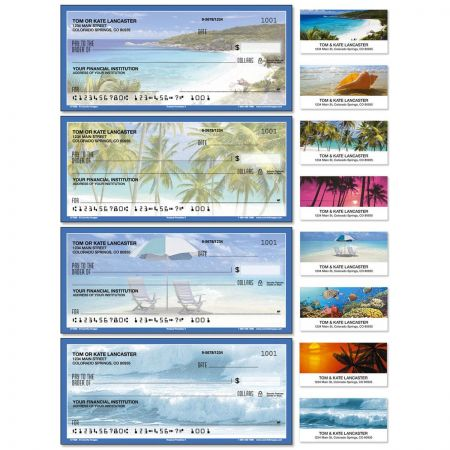 Tropical Paradise II Single Checks With Matching Address Labels