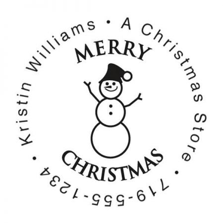 Snowman Family Round Self Inking Address Stamp