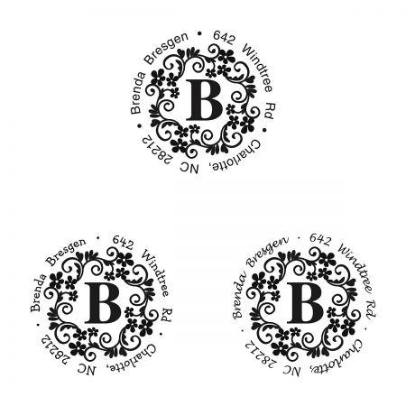 Floral Monogram Round Self-Inking Address Stamp