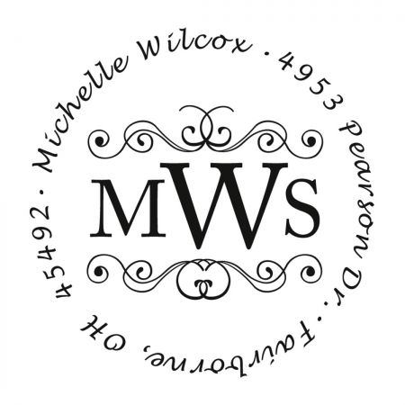 Middle Monogram Round Self-Inking Address Stamp