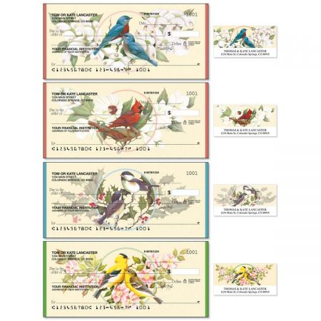 Birds & Blossoms Single Checks With Matching Address Labels