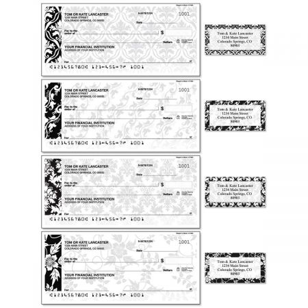 Elegant in Black Single Checks With Matching Address Labels
