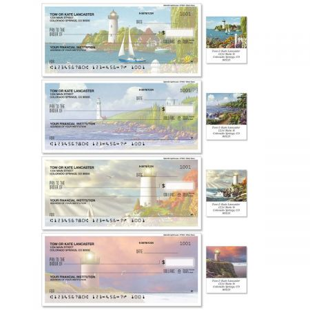 Splendid Lighthouses Single Checks With Matching Address Labels