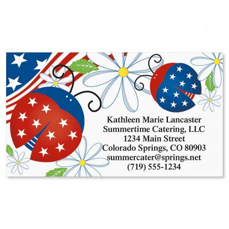 Patriotic Ladybugs Standard Calling Cards