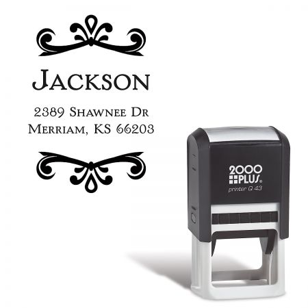 Scroll Name Round Self-Inking Address Stamp