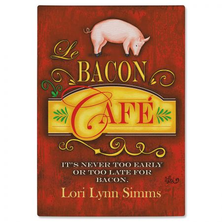 Bacon Cafe Tempered Glass Cutting Board