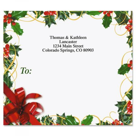 Holly Bow Mailing Package Label