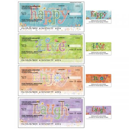 Happy Thoughts Single Checks With Matching Address Labels