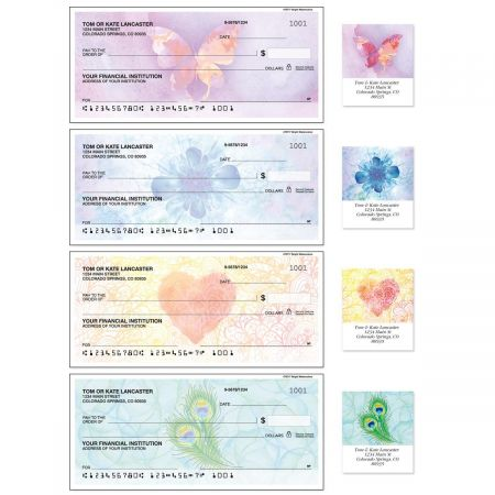 Bright Watercolors Single Checks With Labels