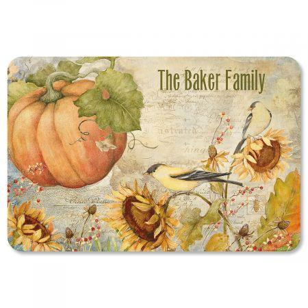 Personalized Pumpkin Sunflower Doormat