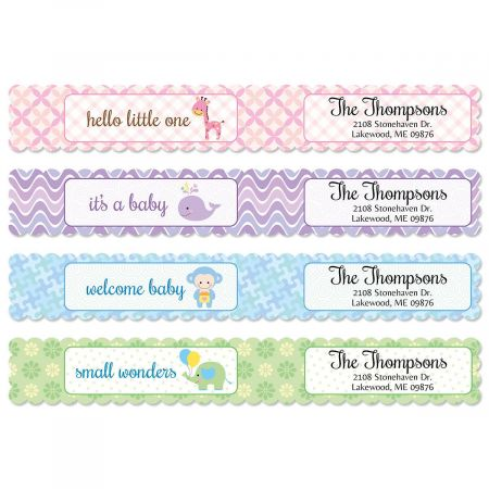 Delightful Baby Connect Wrap Around Diecut Address Labels 4 Designs