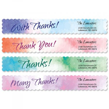 Watercolor Connect Wrap Around Diecut Address Labels  (4 Designs)