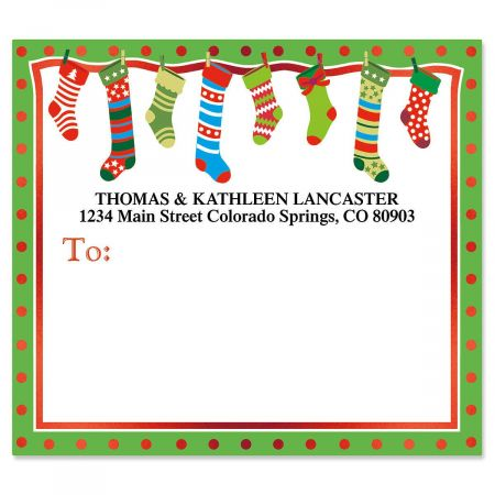 Whimsical Stockings Mailing Package Label