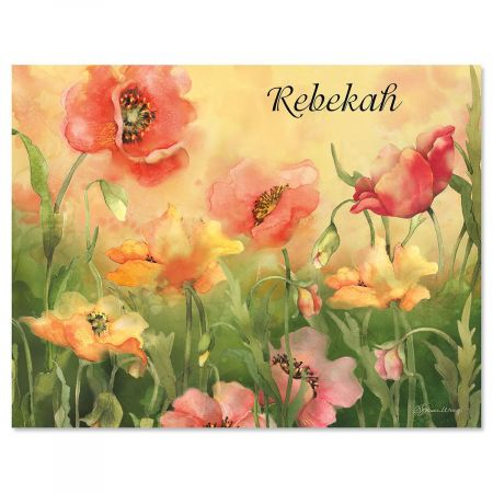 Poppies Personalized Note Cards