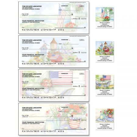 Land of Liberty Single Checks with Matching Labels