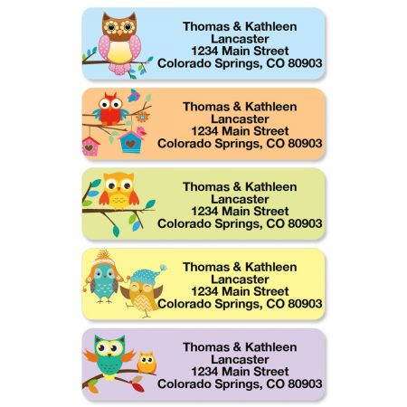 Owls Rolled Address Labels  (5 Designs)