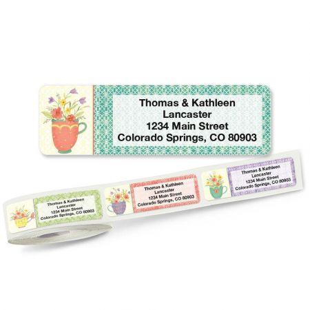 Flowers Rolled Address Labels  (5 Designs)