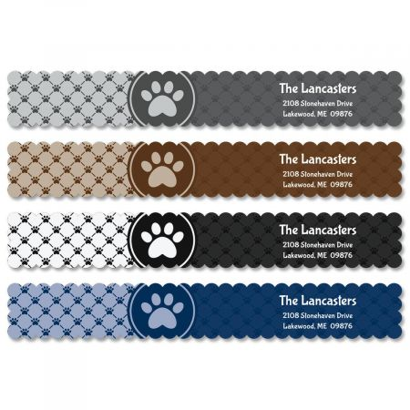 Paw Prints Wrap Around Address Labels  (4 Colors)