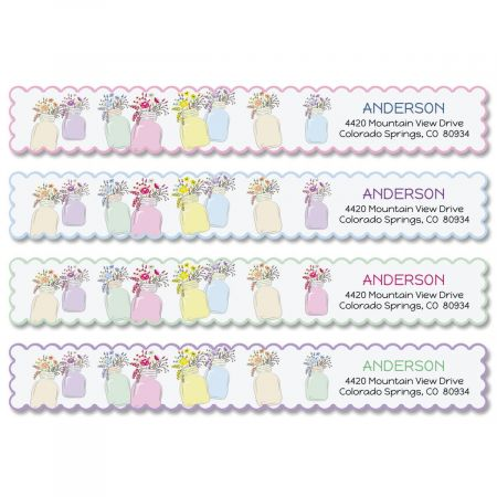 Mason Jar Wrap Around Address Labels (4 Colors)