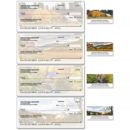 Rustic American Duplicate Checks with Matching Address Labels