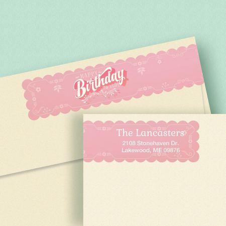 Happy Birthday Wrap Around Address Labels (4 Colors)