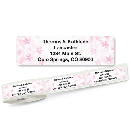 Pretty Pink Floral Rolled Address Labels Whether you have your labels printed with your name and address, a message, a quote, or words of encouragement, they are sure to be noticed. Self-stick address labels add an eye-catching look to your letters and packages and are great for identifying books and sports equipment to prevent mix-ups! Handy FREE clear plastic dispenser included. 5 designs; 3/4  x 2 1/2  each. Specify small or large roll Specify 4 lines, up to 28 characters Specify typestyle
