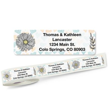 Lovely Flowers Rolled Address Labels Whether you have your labels printed with your name and address, a message, a quote, or words of encouragement, they are sure to be noticed. Self-stick address labels add an eye-catching look to your letters and packages and are great for identifying books and sports equipment to prevent mix-ups! Handy FREE clear plastic dispenser included. 5 designs; 3/4  x 2 1/2  each. Specify small or large roll Specify 4 lines, up to 28 characters Specify typestyle