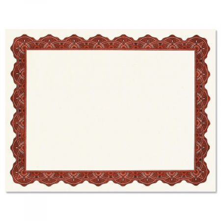 Majestic Maroon Certificate on White Parchment - Set of 25
