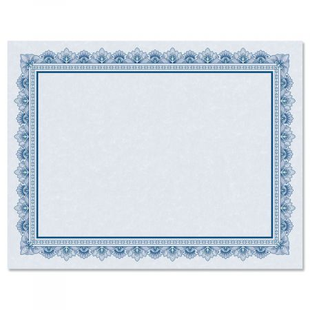 Intricate Blue Certificate on Blue Parchment - Set of 25
