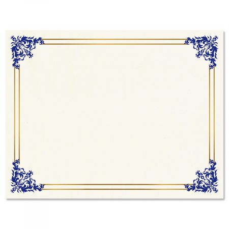 Empire Blue Certificate on White Parchment - Set of 25