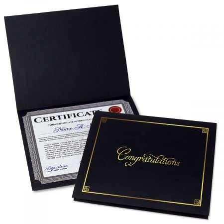 Congratulations Black Certificate Folder with Gold Border