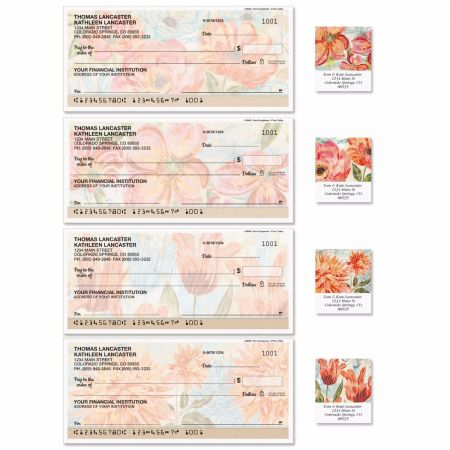 Floral Daydream Single Checks With Matching Address Labels