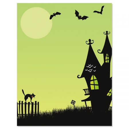 Green Haunted House Halloween Letter Papers
