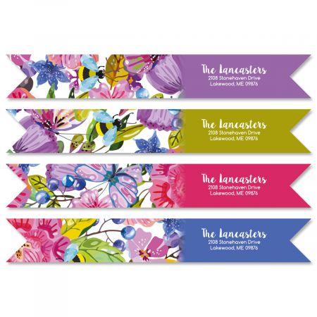 Vibrant Cheer Wrap Around Address Labels (4 Designs)