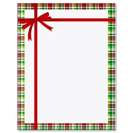 Tied Tartan Bow Christmas Letter Papers