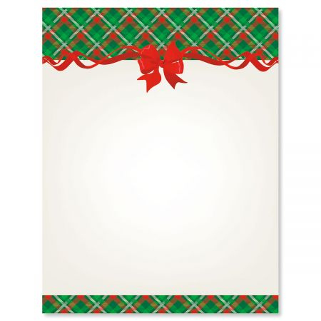 Plaid & Ribbon Christmas Letter Papers