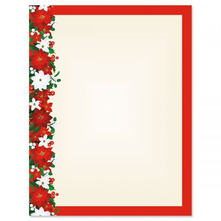 Poinsettia Filigree Christmas Letter Papers