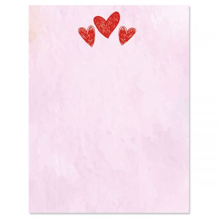 Sketched Hearts Valentine's Day Letter Papers