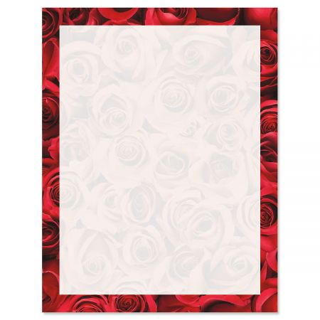 Bed of Roses on White Valentine's Day Letter Papers