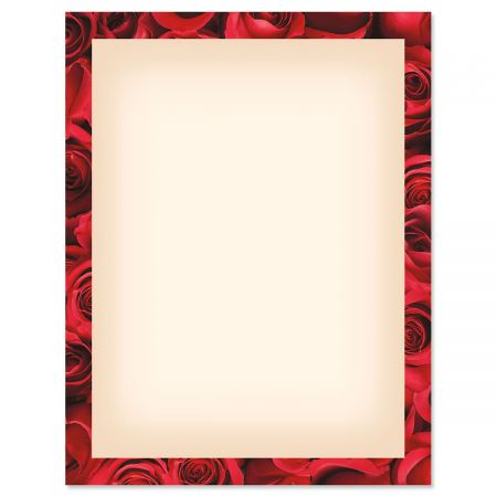 Bed of Roses Frame on Cream Valentine's Day Letter Papers