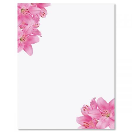 Pink Lilies Letter Papers