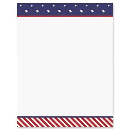 Stars and Stripes Patriotic Letter Papers