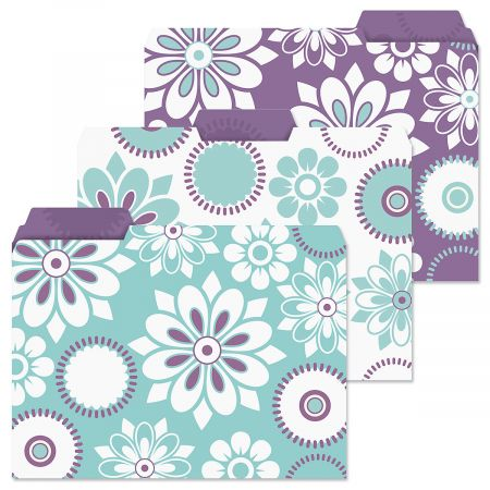 Vibrant file folders, set of 3, blue white and purple abstract floral