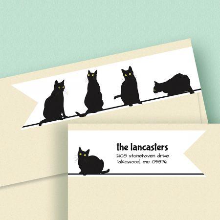Black Cats Wrap Around Address Labels
