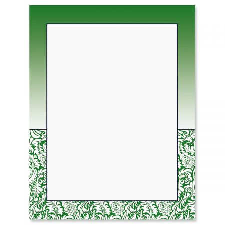 Emerald Damask Letter Papers