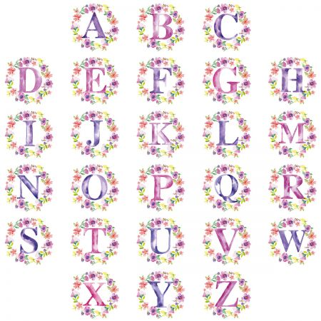 Painted Floral Initial Personalized Note Cards