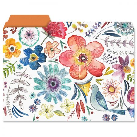 Embroidery Florals File Folders