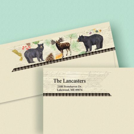 Natural Lodge Wrap Around Connect Diecut Address Labels