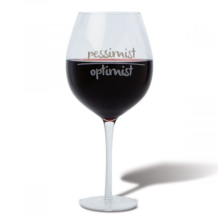 Optimist-Pessimist Giant Wineglass by Current Catalog
